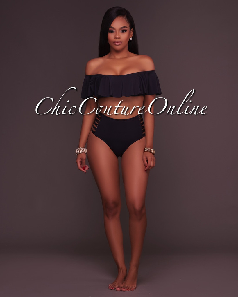 Ohara Black Ruffle Top and Strappy High Waist Bottom Two Piece Swimsuit