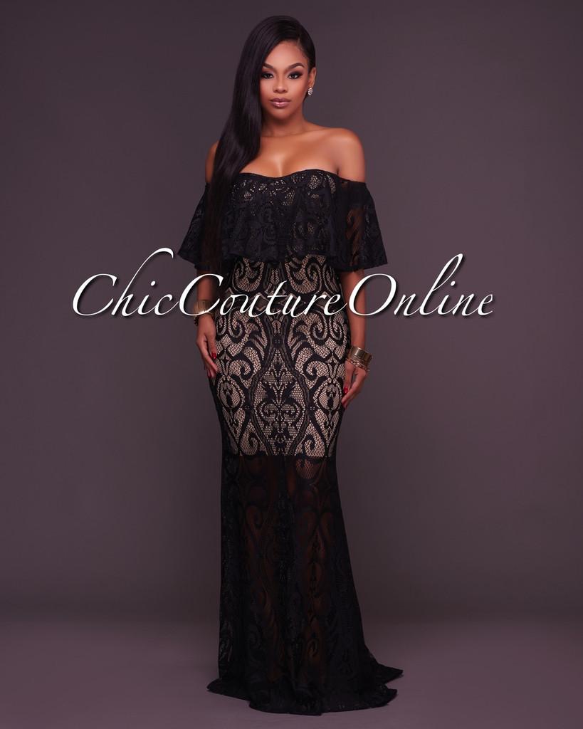 Kamila Black Lace Off-The-Shoulder Ruffle Maxi Dress
