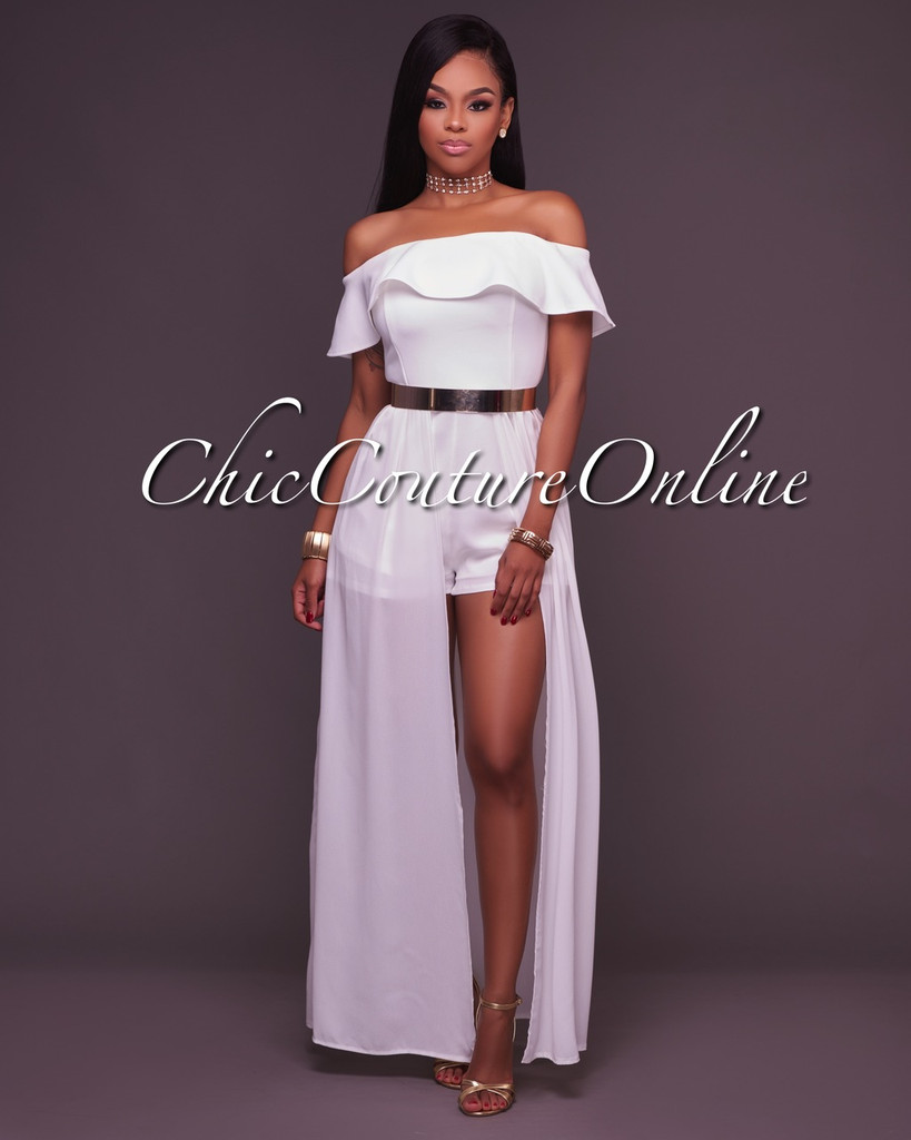 Willow Off The Shoulder White Romper Maxi Dress