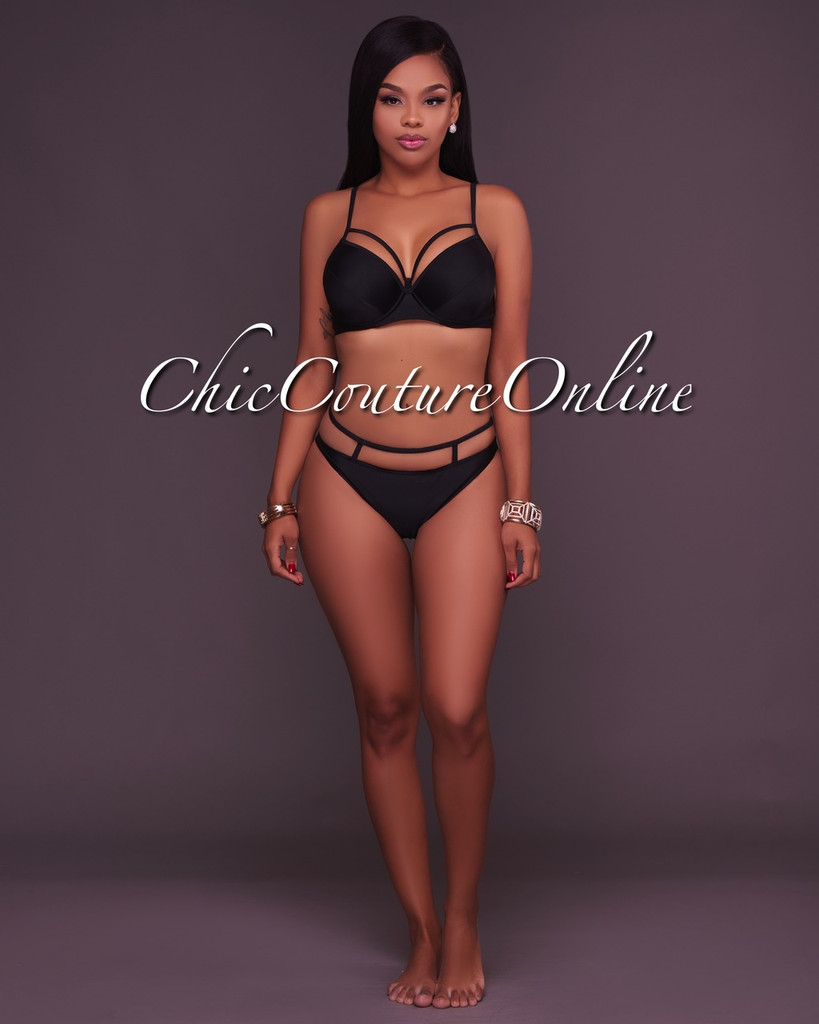 Zaria Black Strappy Design 2 Piece Swimsuit
