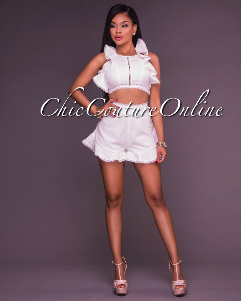 Fanni White Ruffles Two Piece Set
