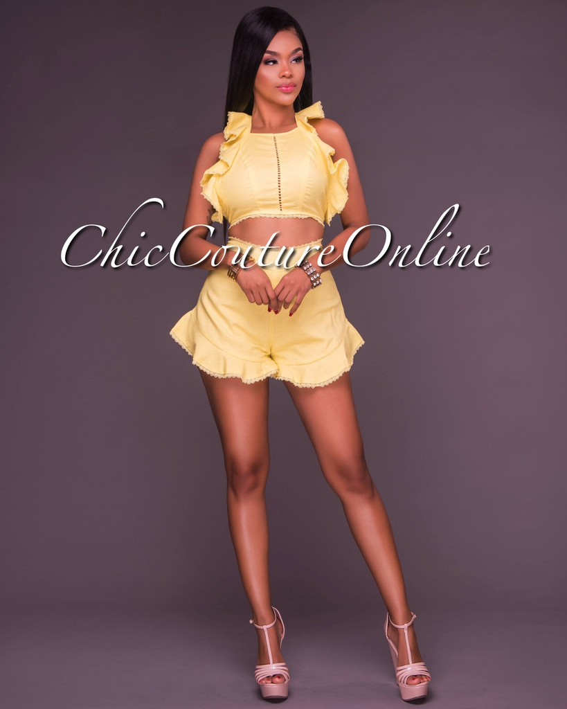Fanni Yellow Ruffles Two Piece Set