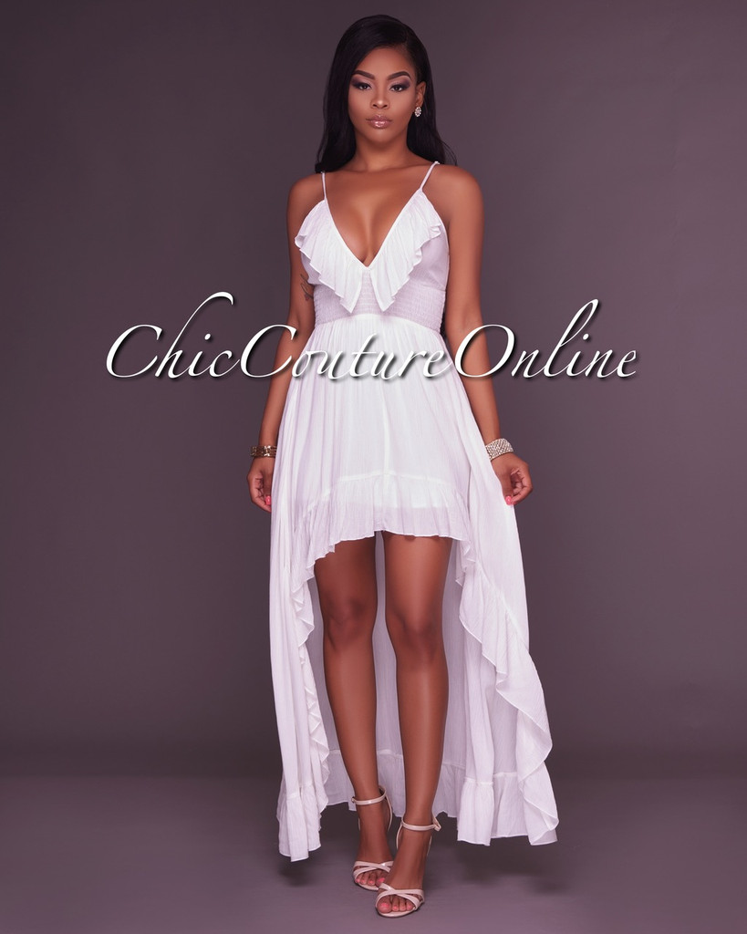 Chrystelle Off-White Ruffle High-Low Maxi Dress