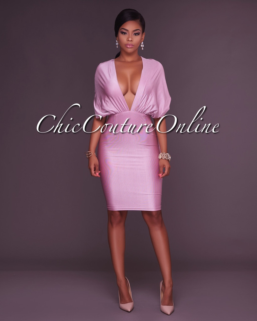 Gayle Rose Plunging V Open Back Body-Con Dress