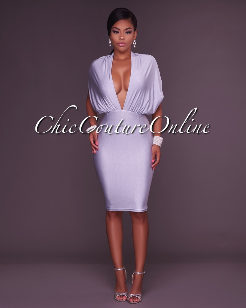 Gayle Silver Plunging V Open Back Body-Con Dress