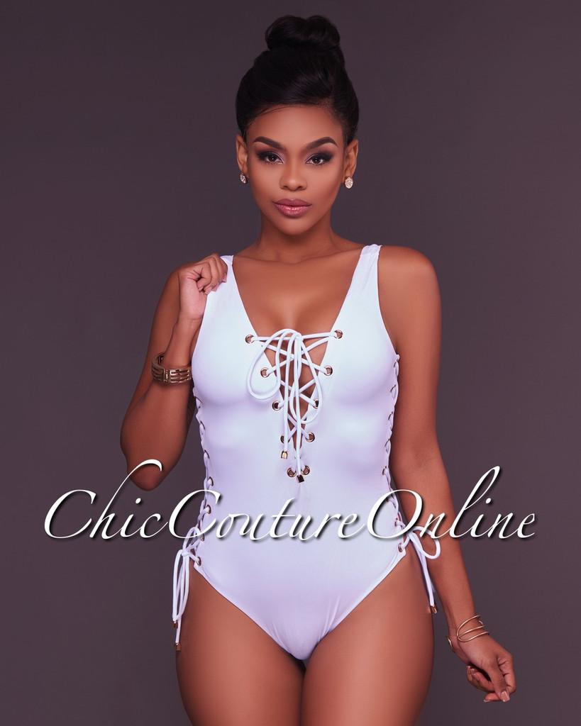 Dilara White Lace Up One Piece Swimsuit