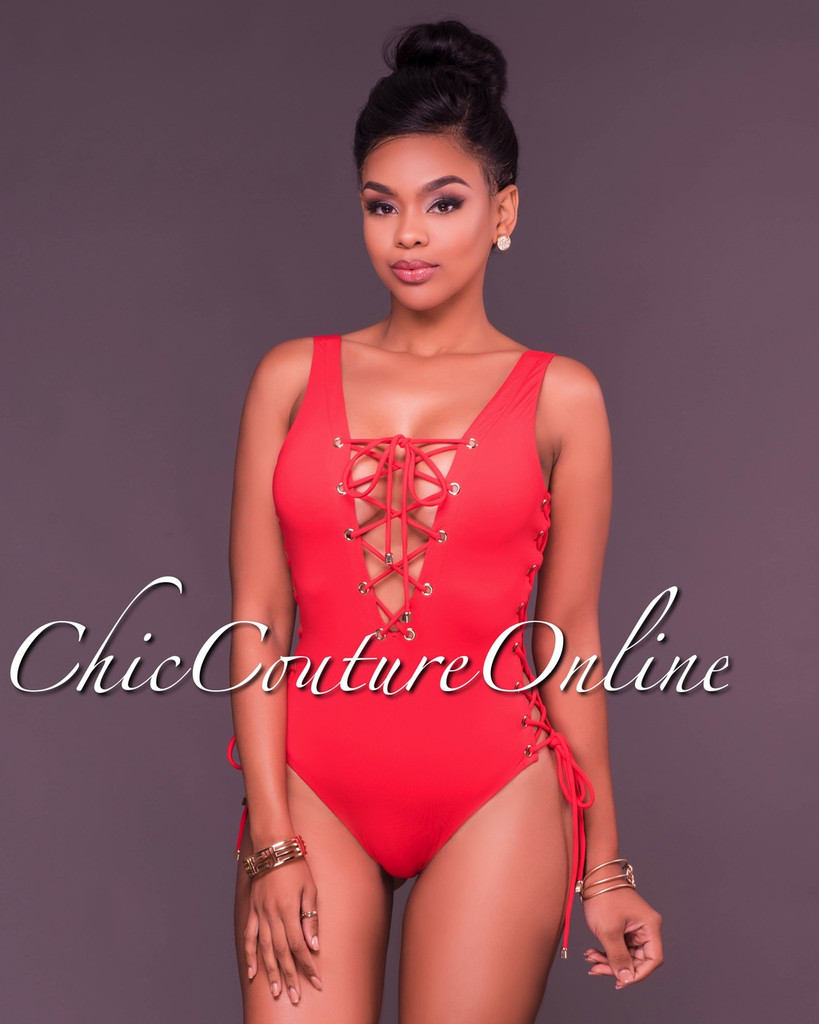 Dilara Red Lace Up One Piece Swimsuit