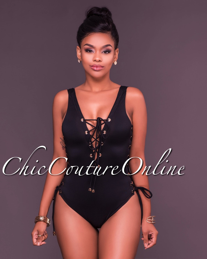 Dilara Black Lace Up One Piece Swimsuit
