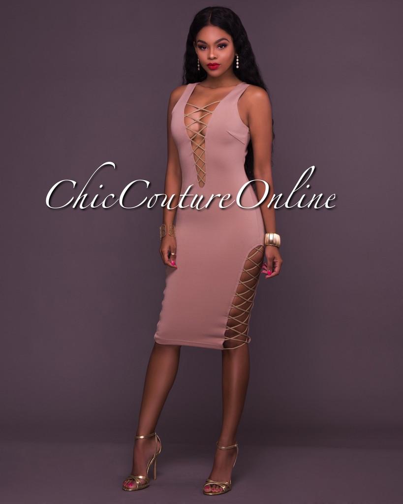 Clare Taupe Cut-Out Lattice Accent Midi Dress