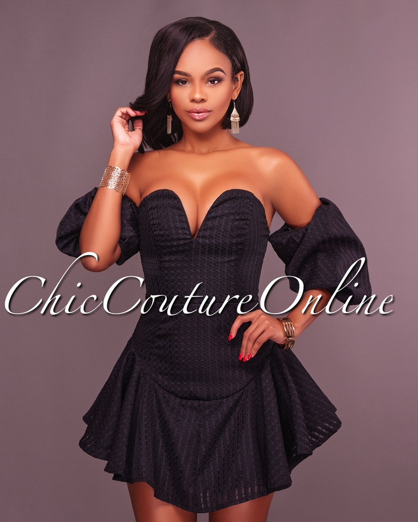 Ariella Black Off The Shoulder Dress