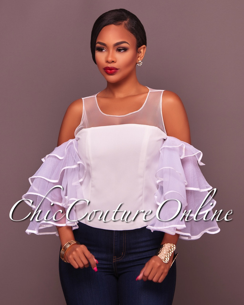 Kasira Off-White Ruffle Sleeves Top