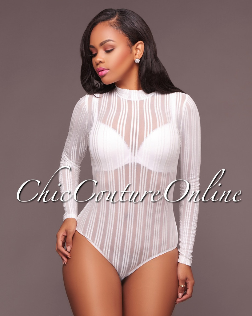 Kaden White Striped Mesh Bodysuit