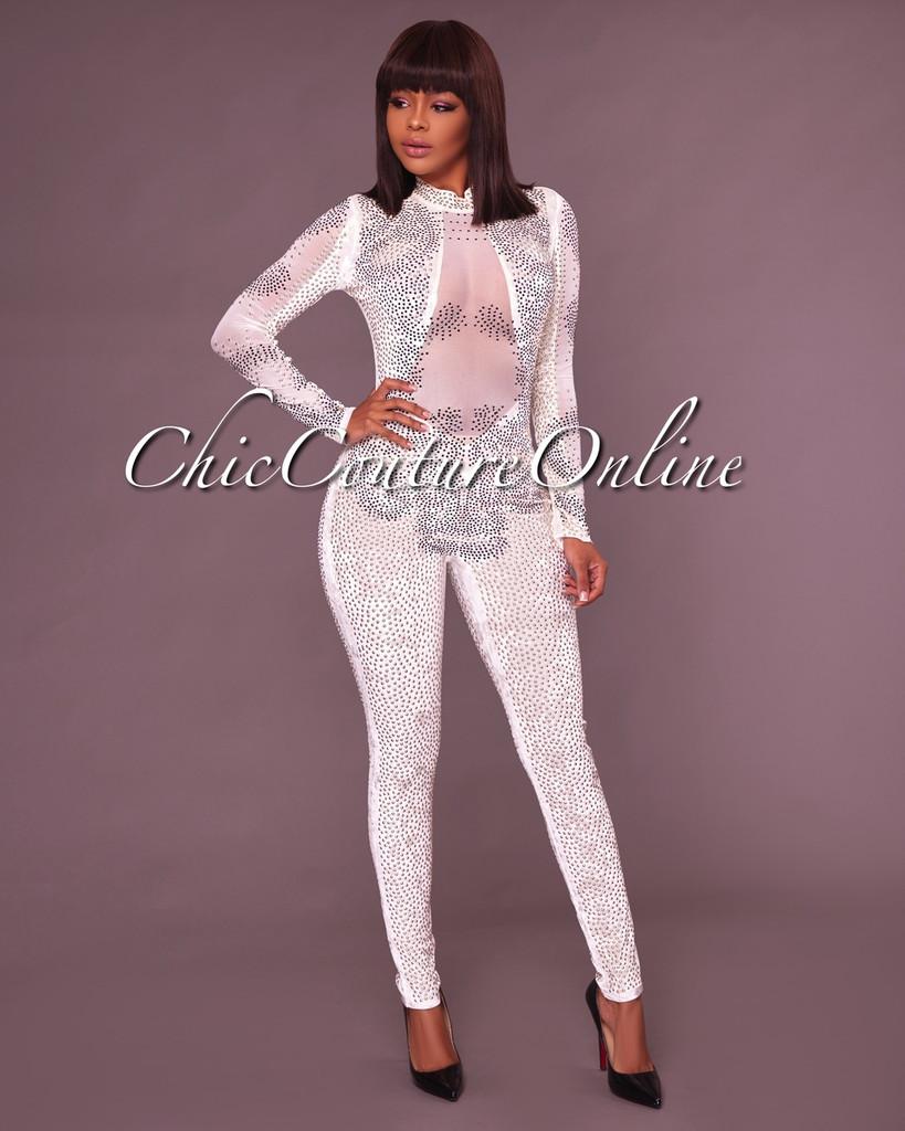 Cecilia Off White Embellished Mesh Detail Jumpsuit