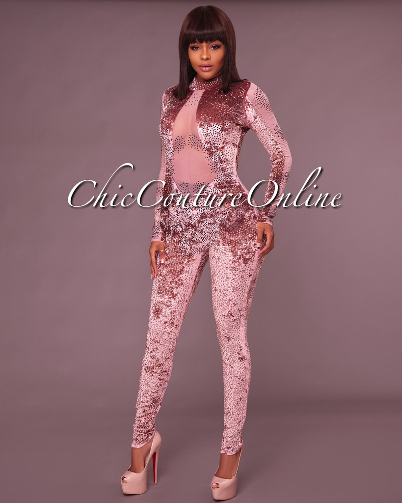 Cecilia Pink Embellished Mesh Detail Jumpsuit