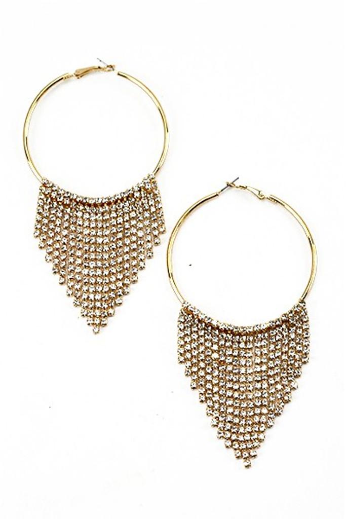 Edwin Golden Round Fringe  Hoop Earrings