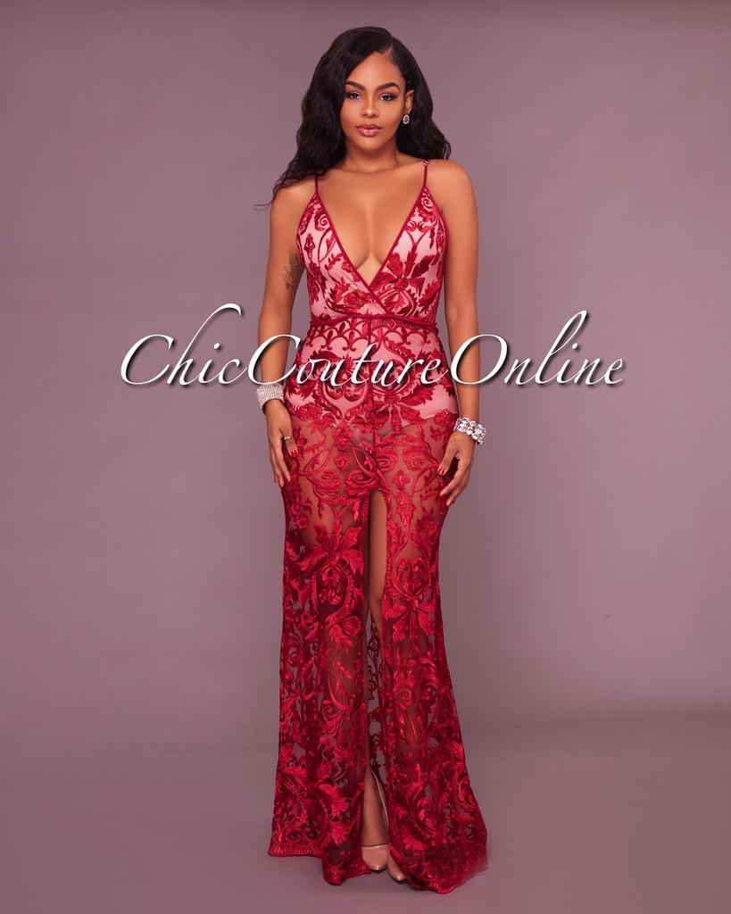 Tarvyn Wine Red Lace Nude Illusion Bodysuit Maxi Dress