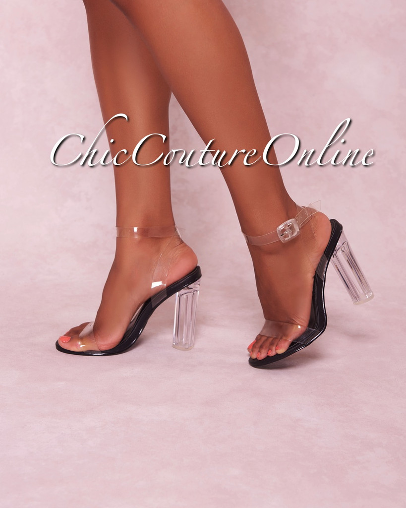Solstice Black Ankle Strap Clear High Heels