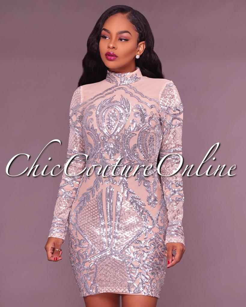 Aoki Nude Silver Sequin Mini Dress