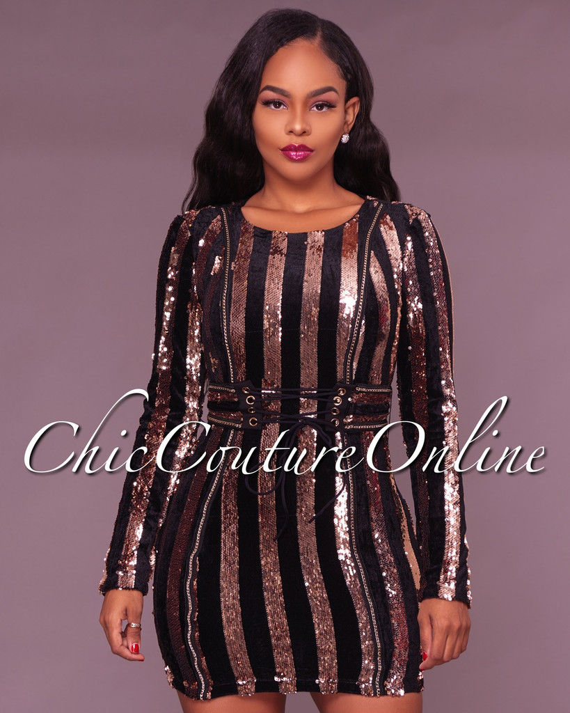 Hella Black and Bronze Sequin Mini Dress