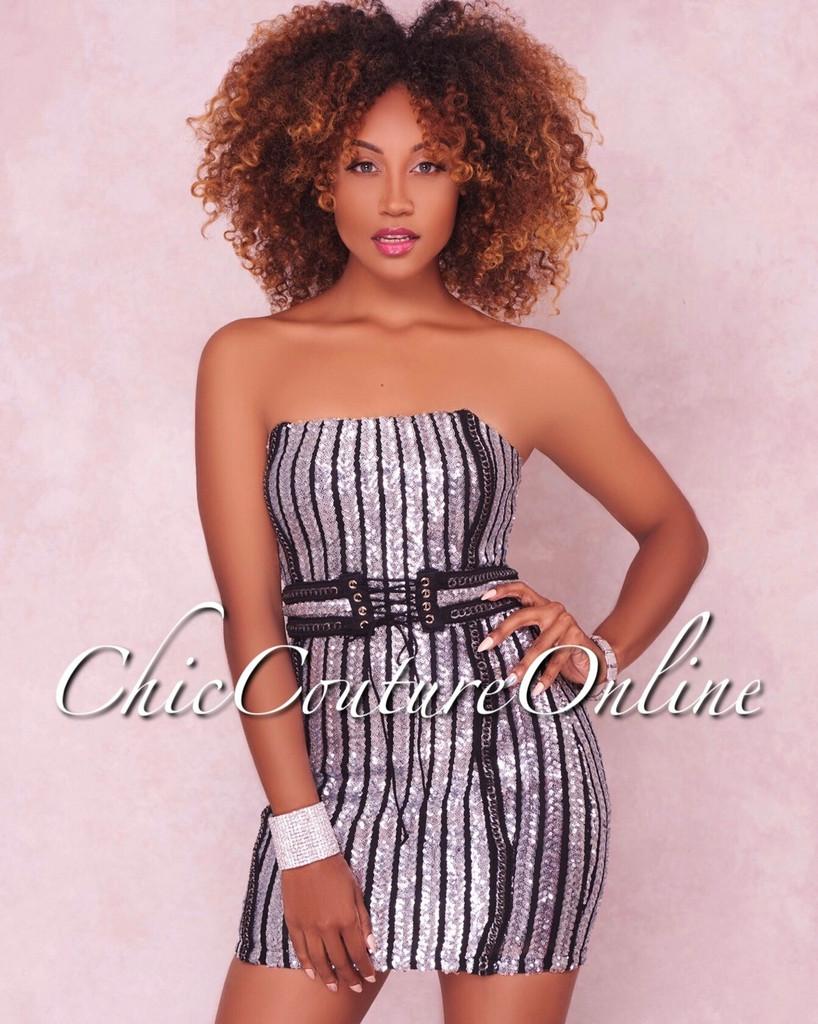 Eleanor Black Silver Sequins Strapless Mini Dress