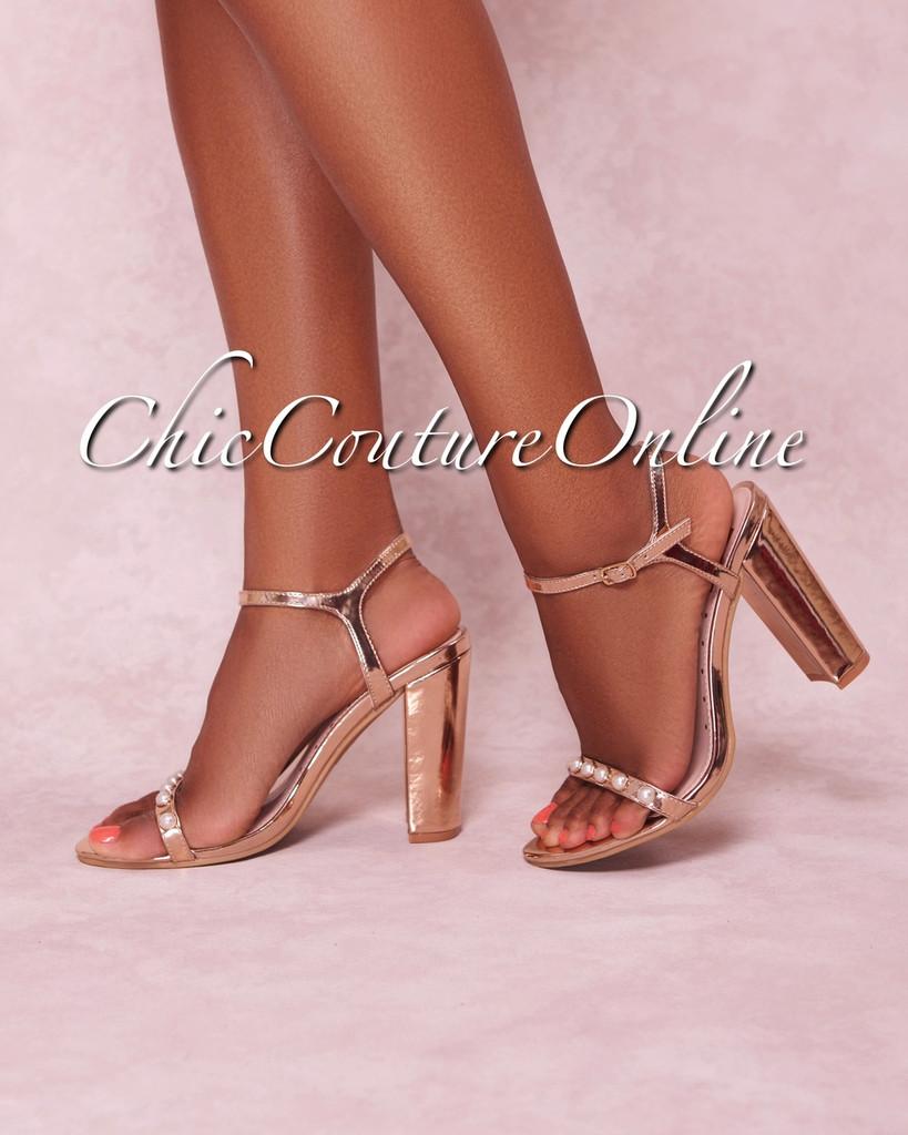 Rosalind Rose Gold Pearl Strap High Heel Sandals