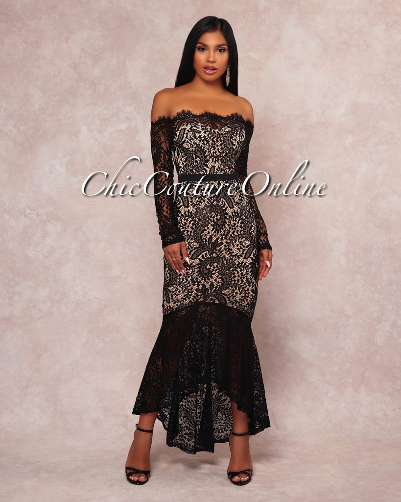 Rikka Black Lace Nude Illusion Off-The-Shoulder Dress