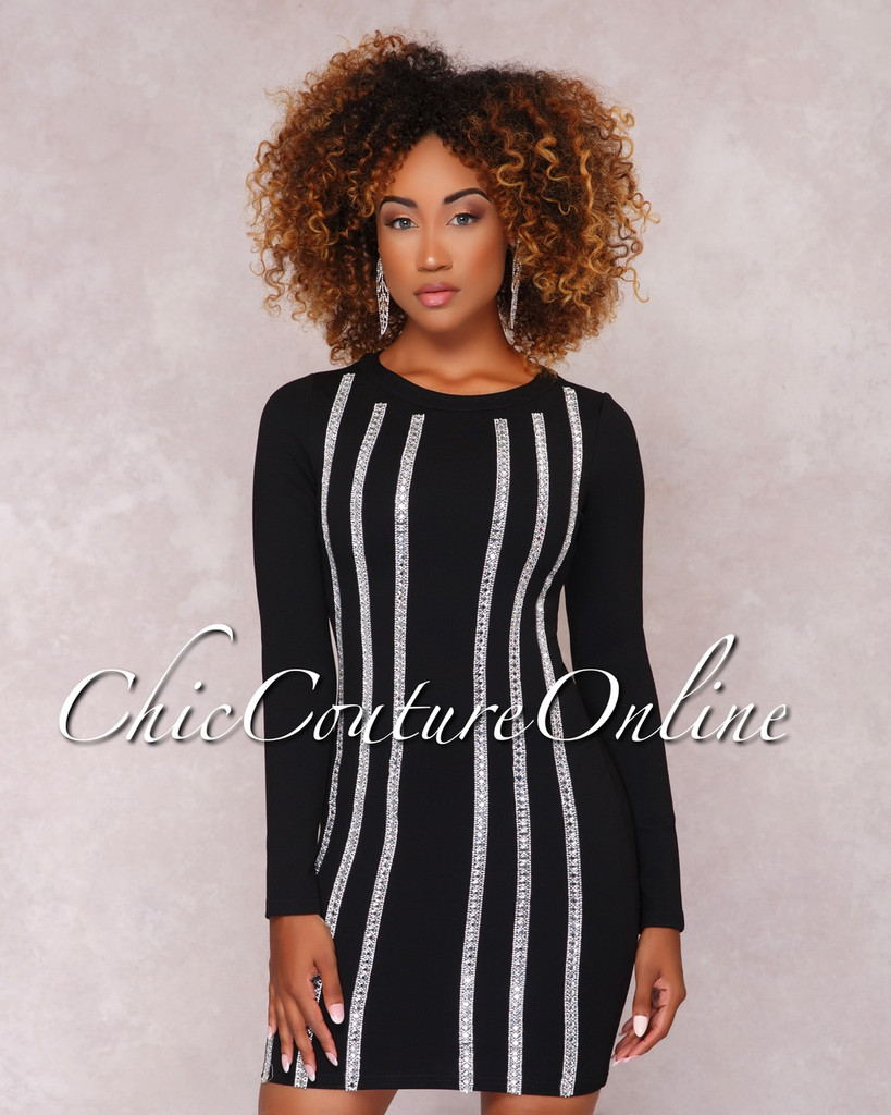Imani Black Rhinestone Embellished Mini Dress