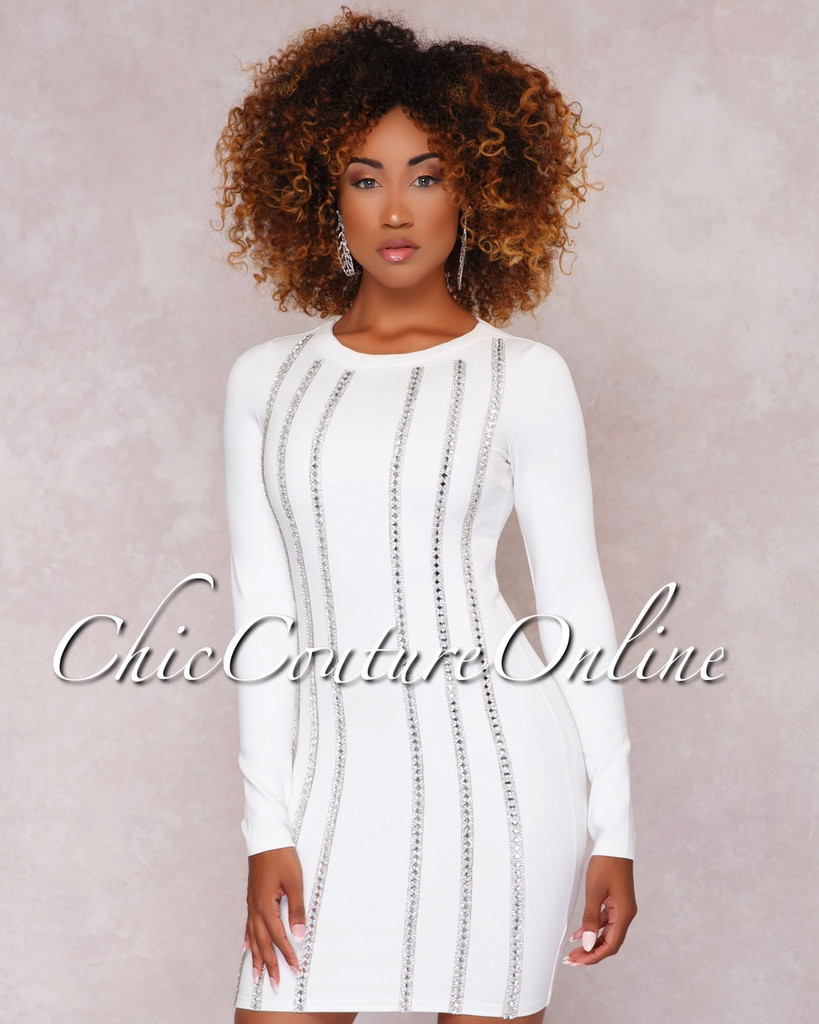 Imani White Rhinestone Embellished Mini Dress