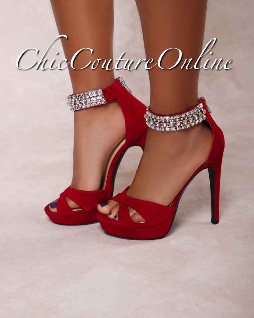 Pico Deep Red Rhinestones Ankle High Heel Sandals