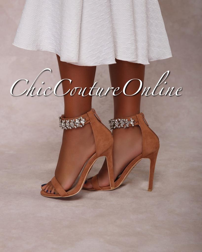 Emersson Blush Rhinestones Ankle High Heel Sandals