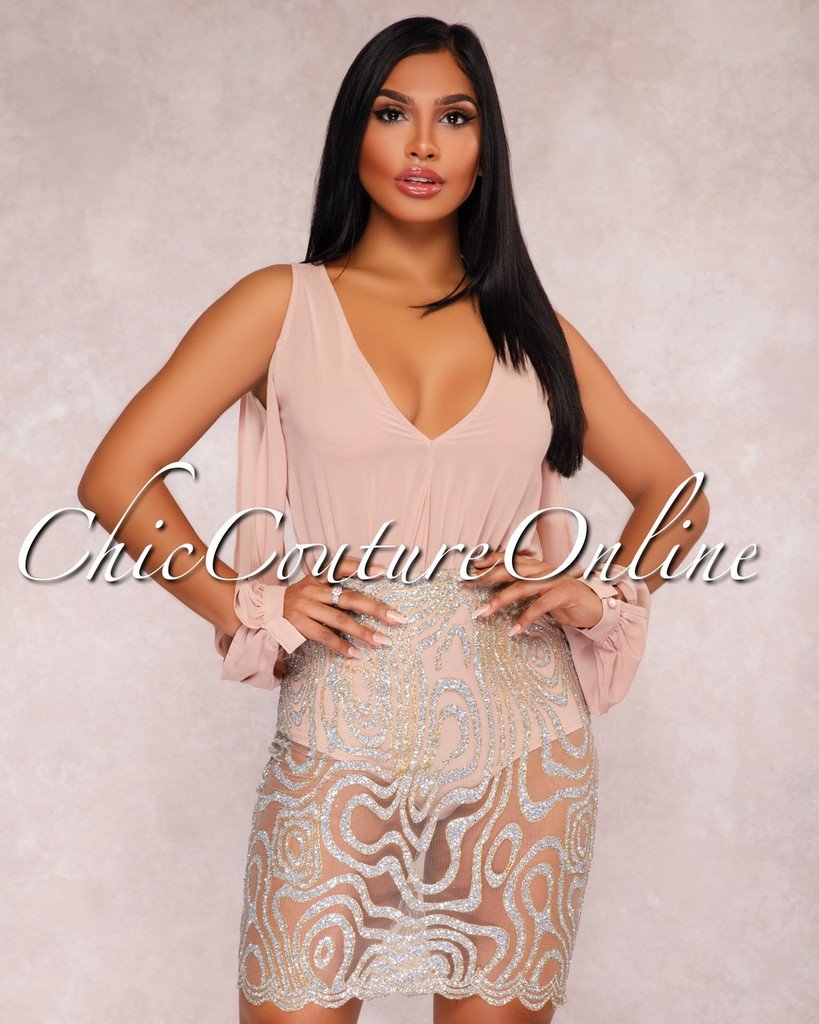 Celina Taupe Embellished Two Piece Bodysuit Set