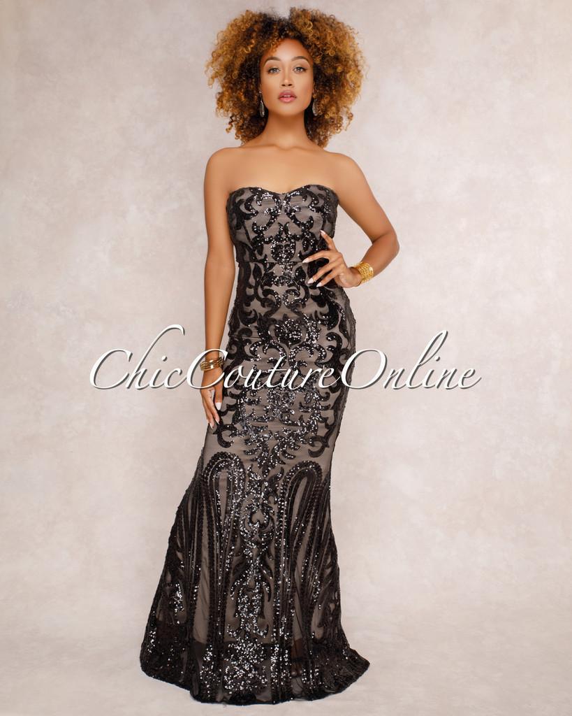 Samora Black Sequin Embellished Strapless Maxi Dress