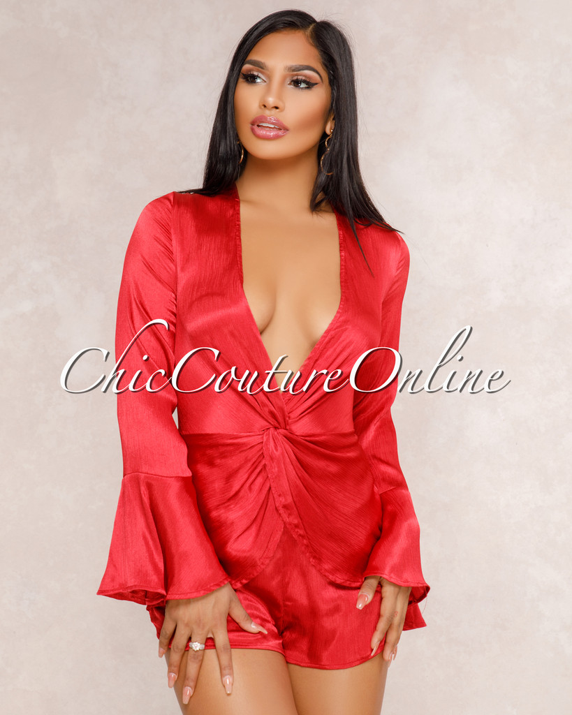 Corie Burgundy Red Knotted Front Romper