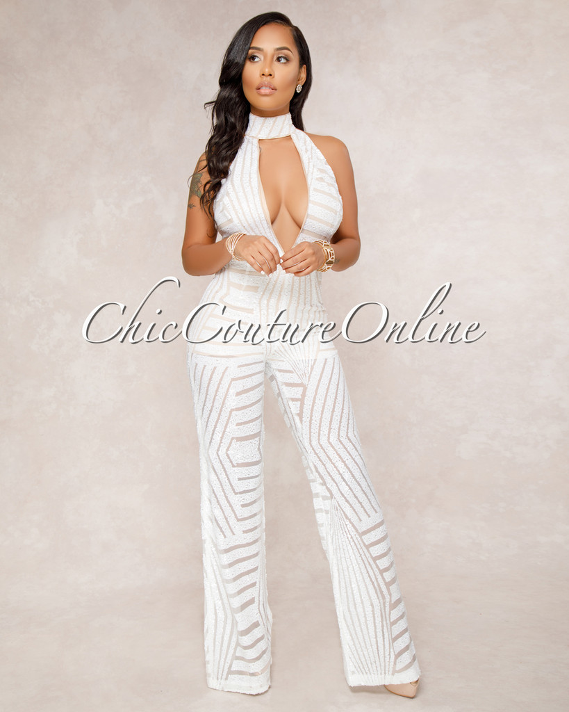 Payoff White Sequins Nude Illusion Halter Jumpsuit