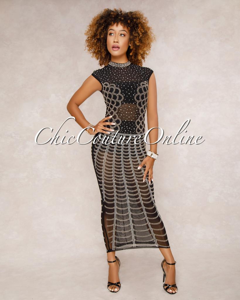 Showtime Black Studded Midi Dress