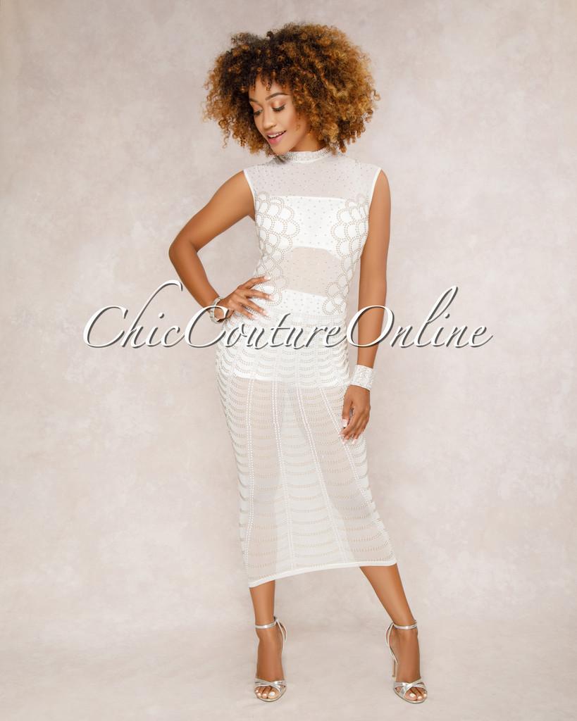 Showtime White Studded Midi Dress
