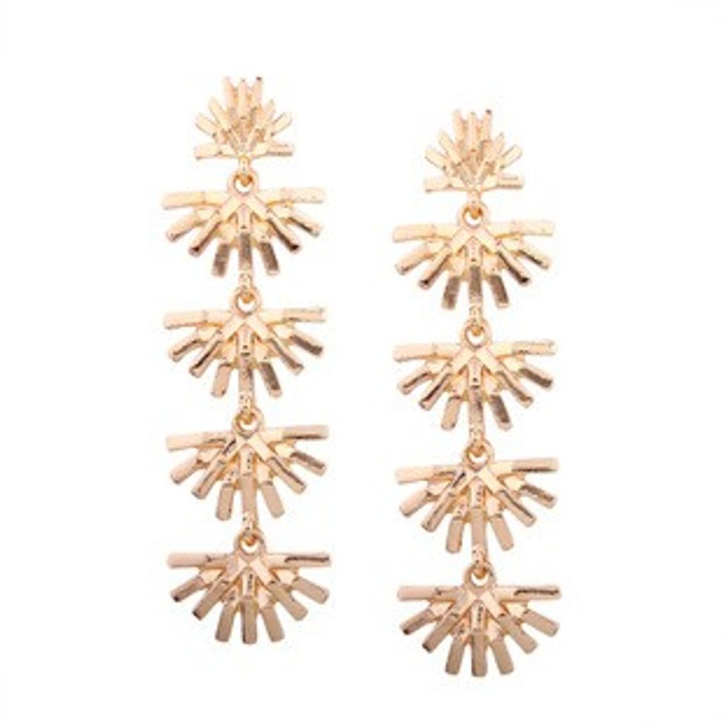 Micha Golden Flower Long Drop Dangle Earrings