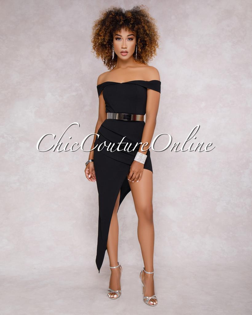 Camilla Black Asymmetrical Body-Con Midi Dress