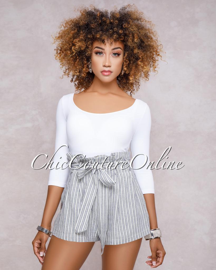 Selina Blue Stripe Paper Bag Waist Shorts