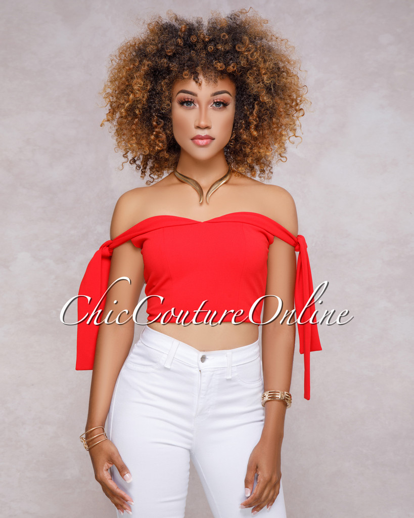 Benjy Red Off The Shoulder Crop top