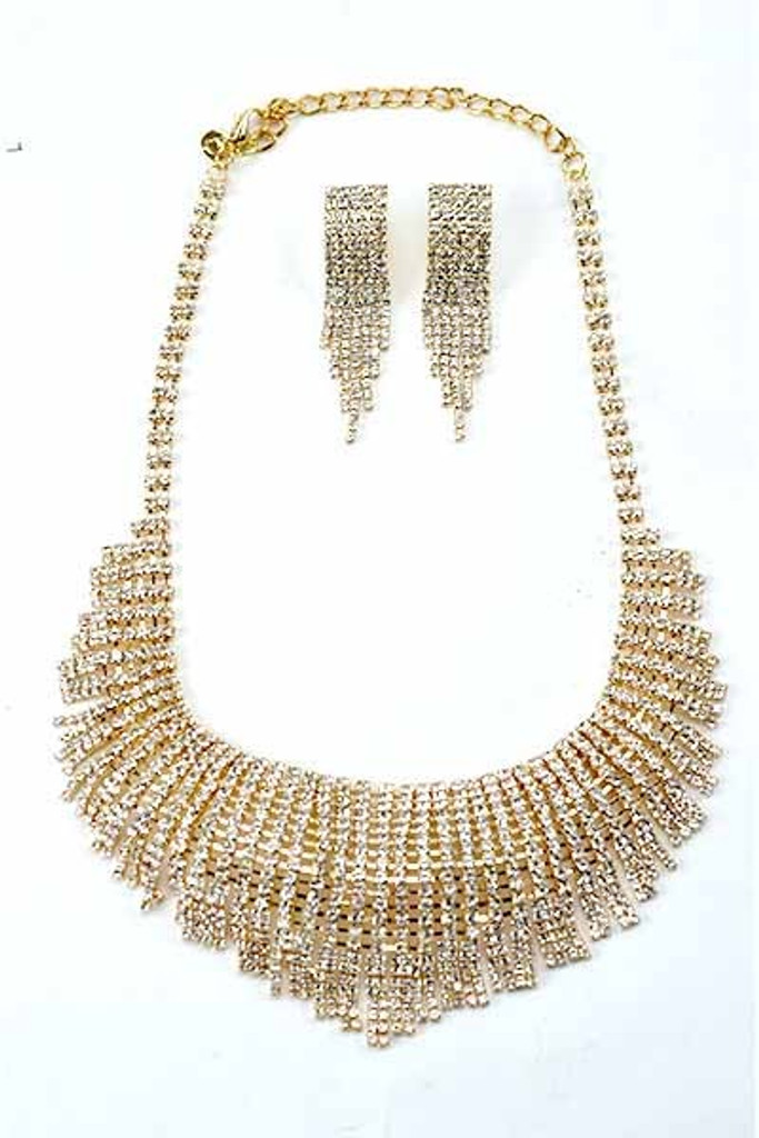 Roman Golden Fringe Earrings & Necklace Set