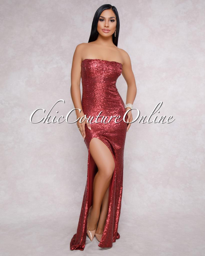 Urbana Wine Red Sequins Strapless Maxi Dress