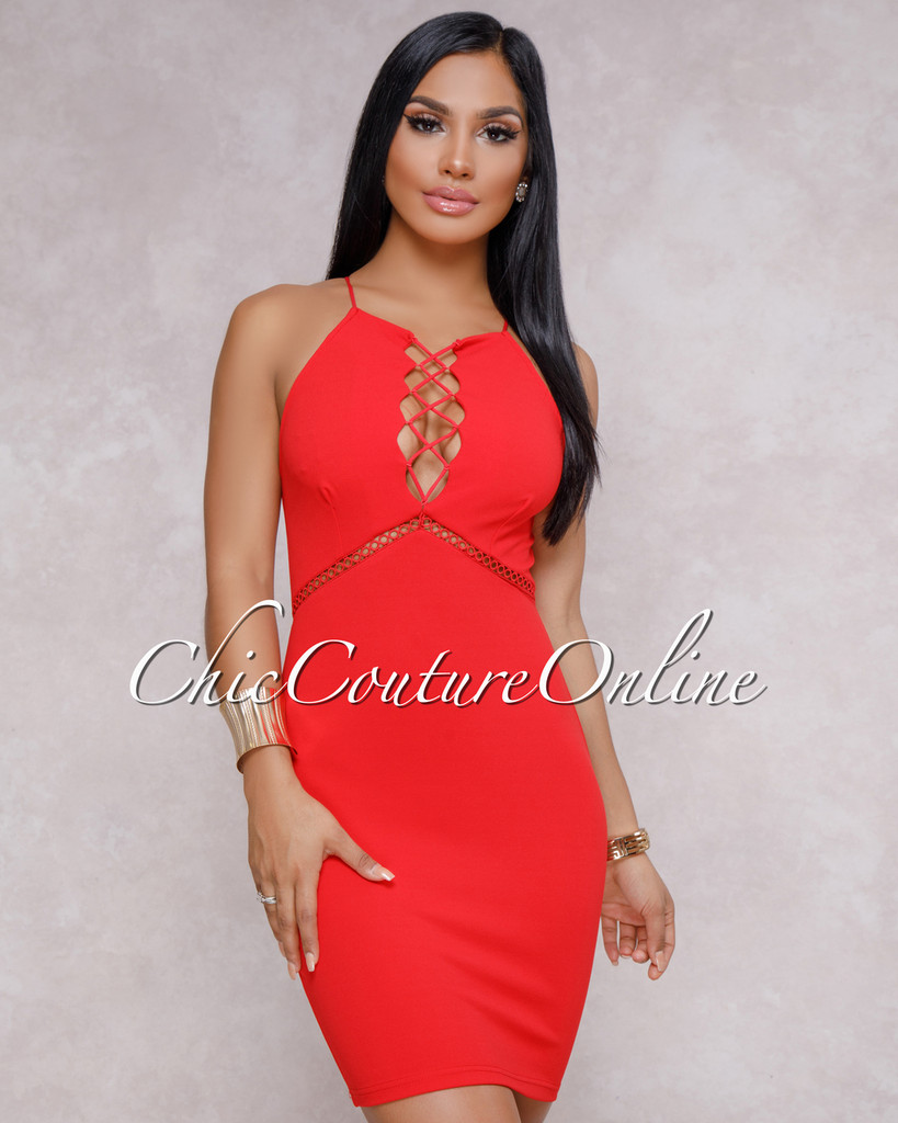 Reagan Red Lace Up Front Mini Dress
