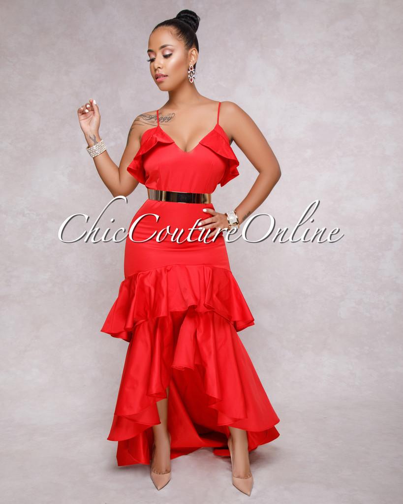 Makayla Red V Neck Ruffle Dress