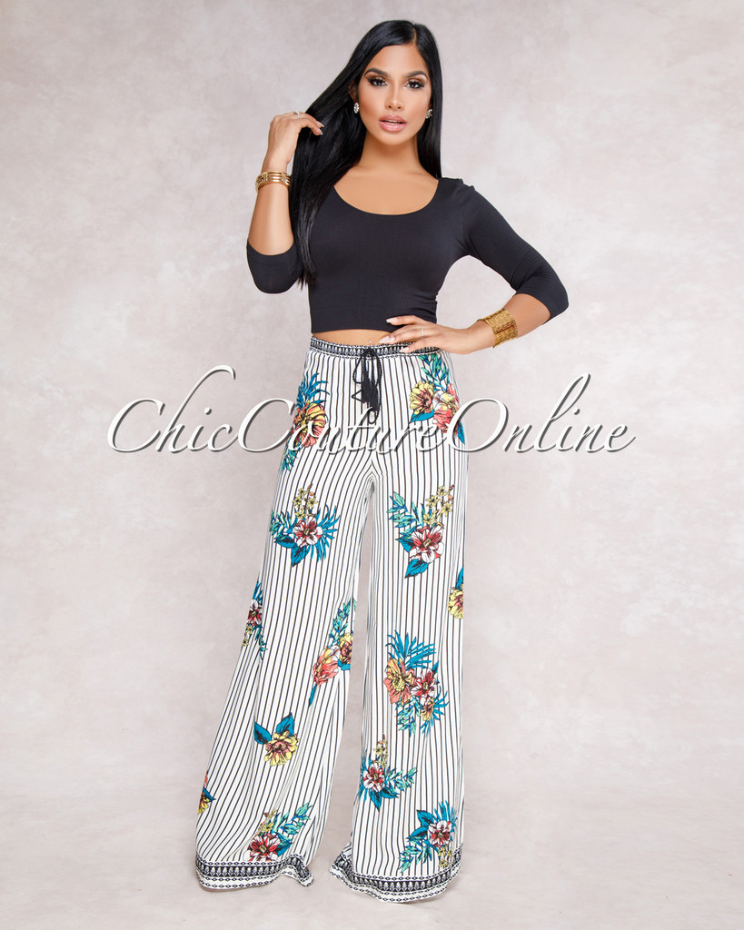 Mariangel Off White Navy Stripes Floral Palazzo Pants
