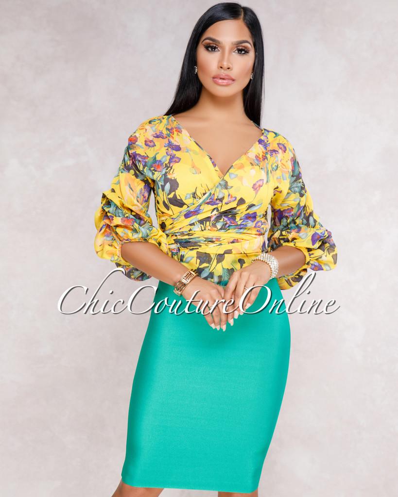 Lizeth Kelly Green Elastic Body-Con Skirt