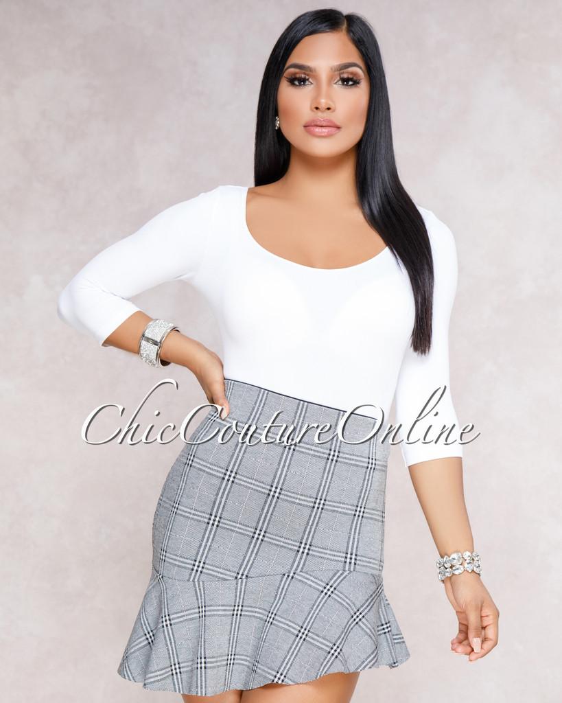 Orlando Grey Asymmetrical Ruffle Plaid Mini Skirt