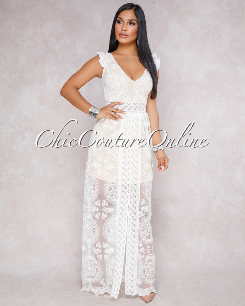 Ynka Off White Nude Crochet Overlay Maxi Dress