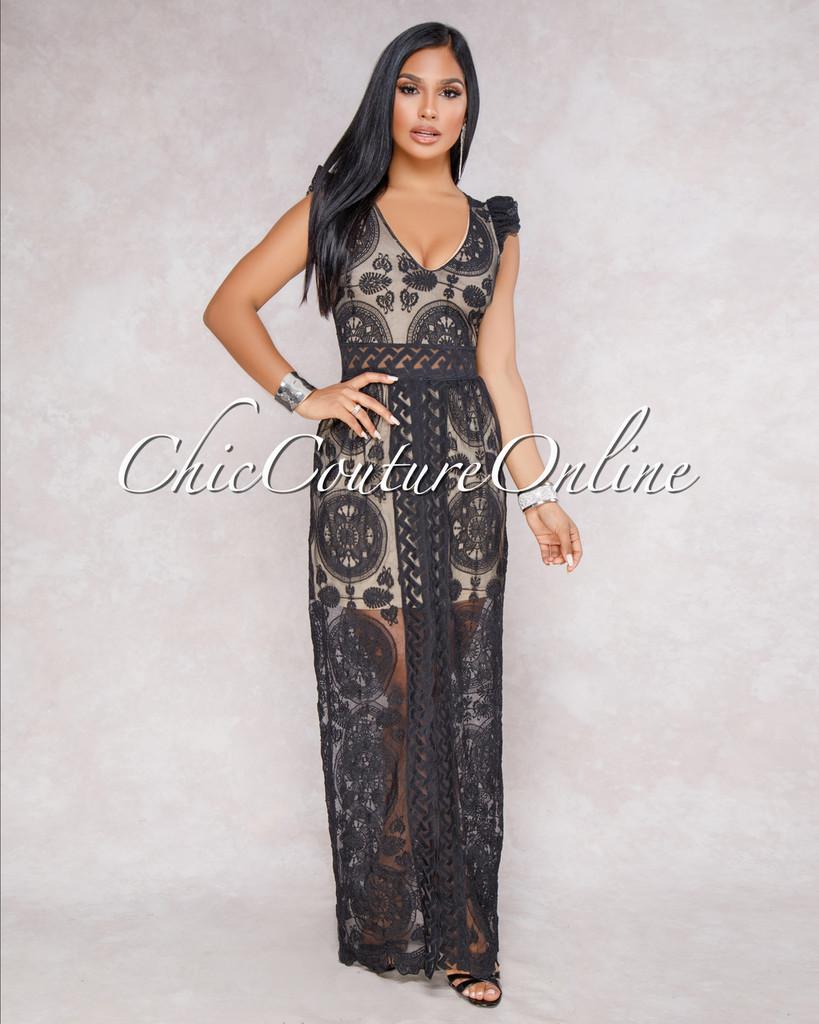 Ynka Black Nude Crochet Overlay Maxi Dress