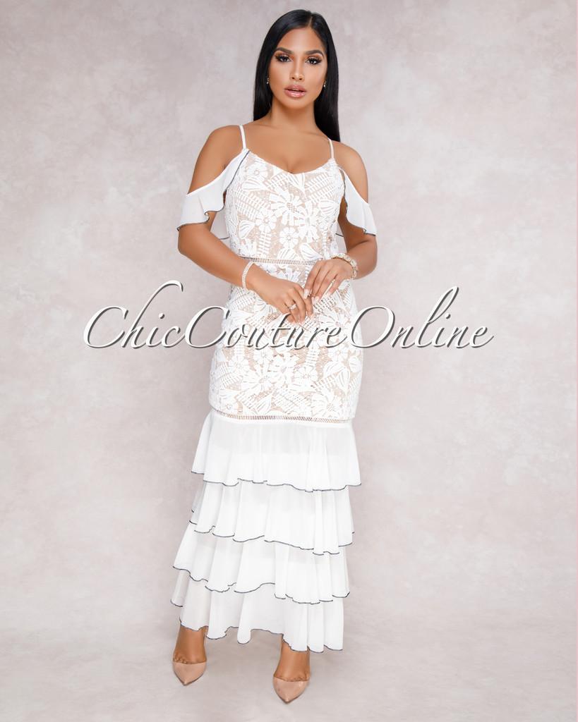 Siya Off-White Crochet Nude Illusion Ruffle Hem Dress
